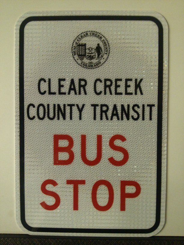 Clear Creek County Transit Bus Stop Sign